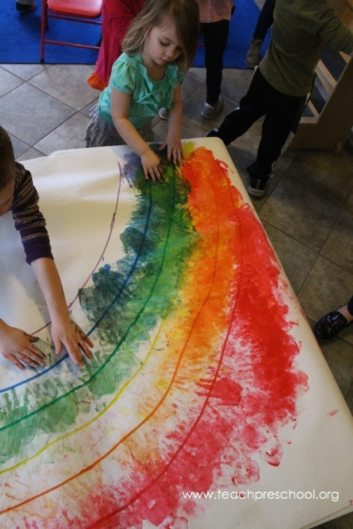 Rainbow Artwork For Preschoolers  Let s make a rainbow to her