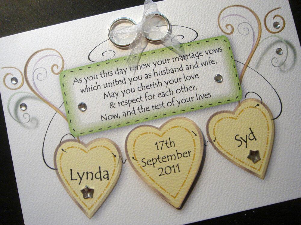 Renew Wedding Vows  Handmade Personalised Wedding Renewal of Vows Card