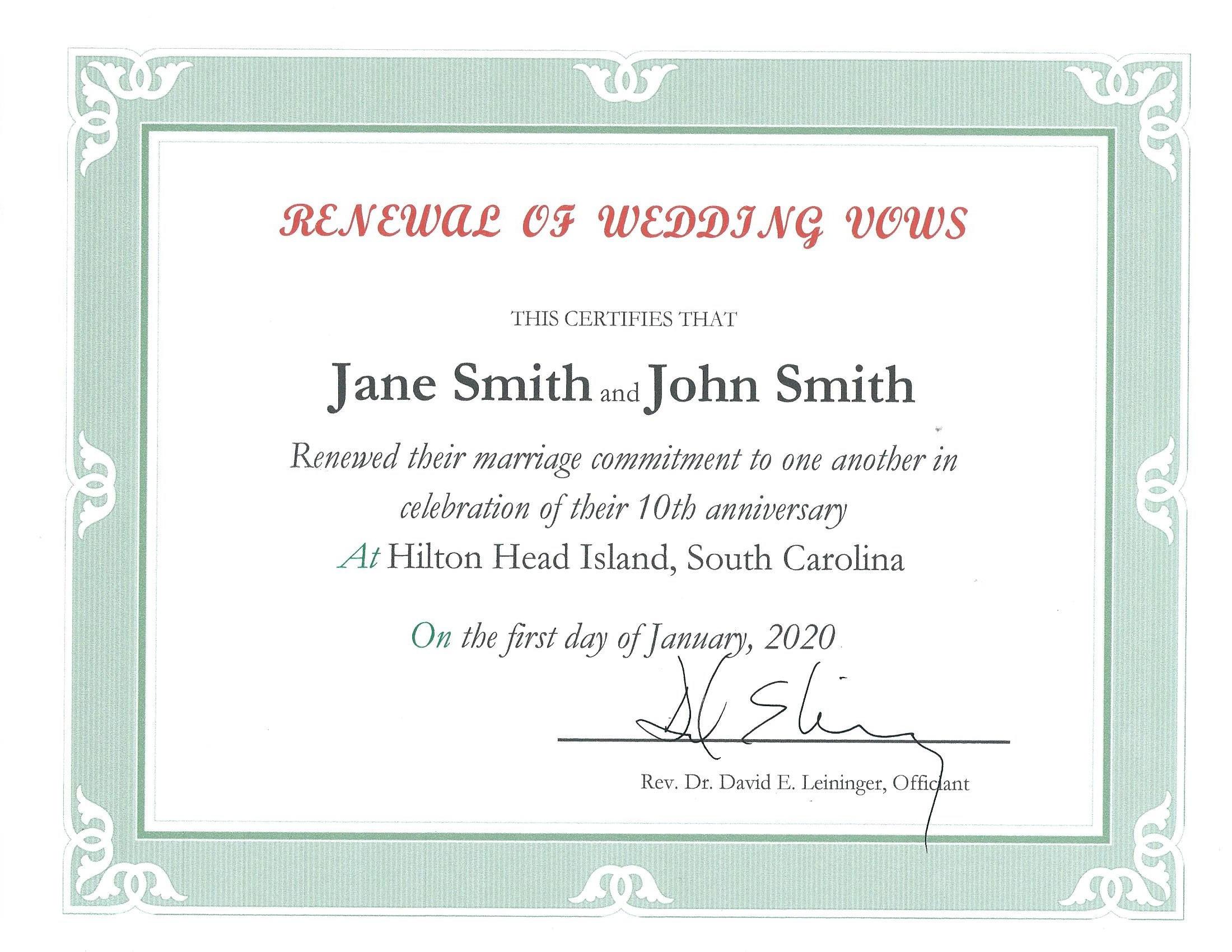Renew Wedding Vows  Vow Renewal ficiant in Hilton Head SC