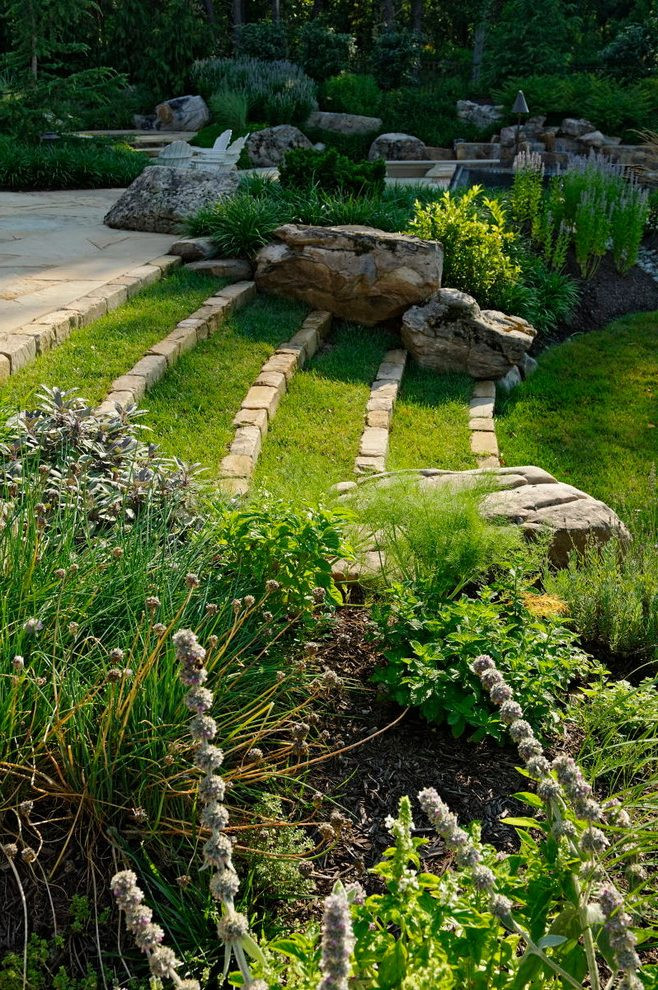 Rock Terrace Landscape  Landscape Terrace Landscape Contemporary With Grass Steps
