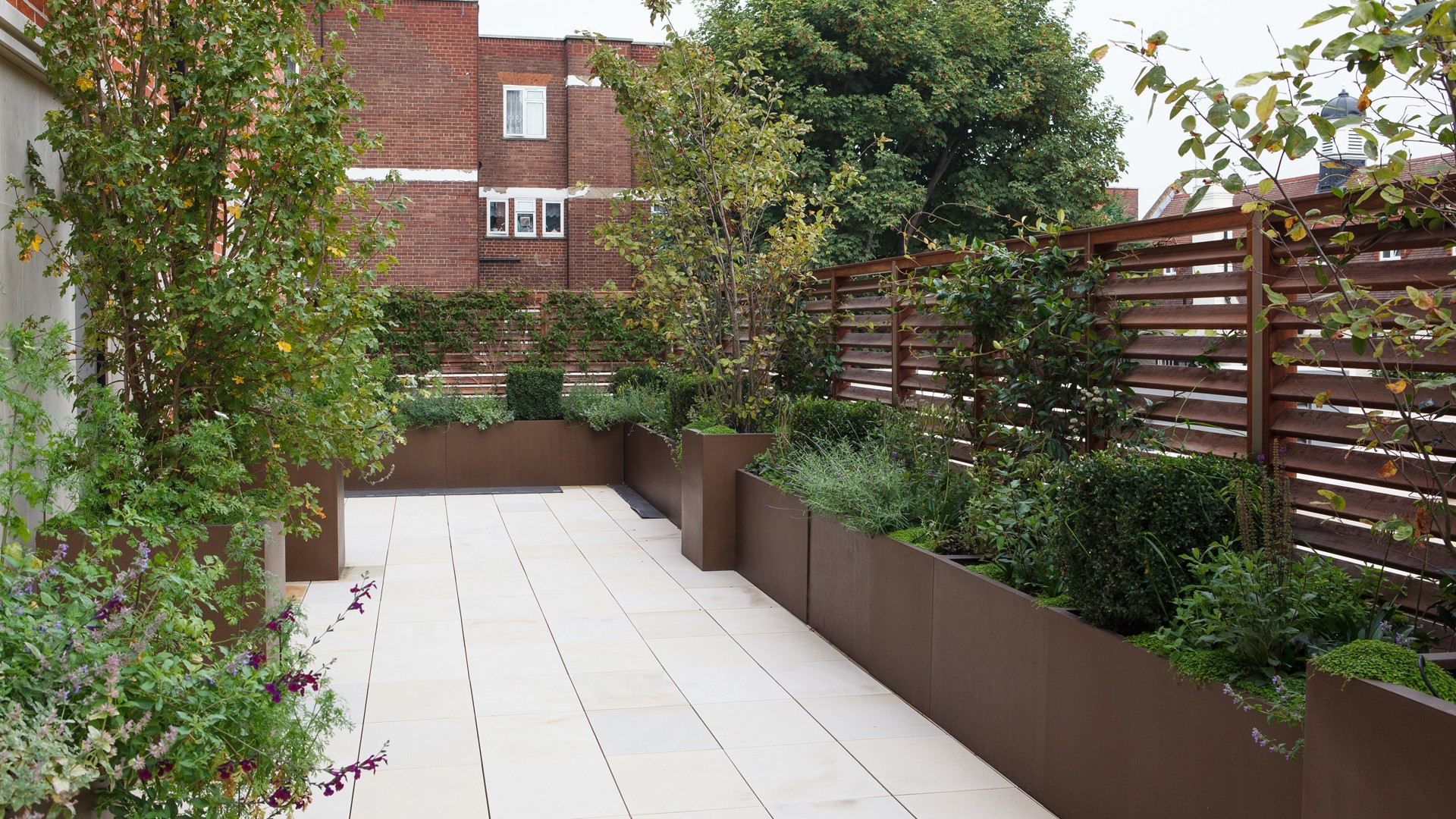 Rooftop Terrace Landscape  Modern Roof Terrace Planters Randle Siddeley