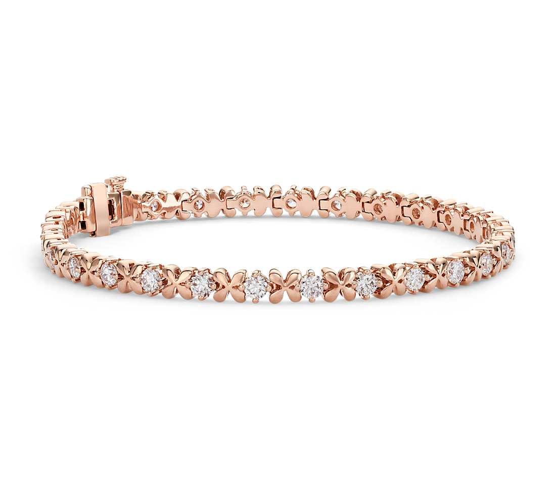 Rose Gold Bracelet  Blue Nile Studio Rose Petal Diamond Bracelet in 18k Rose