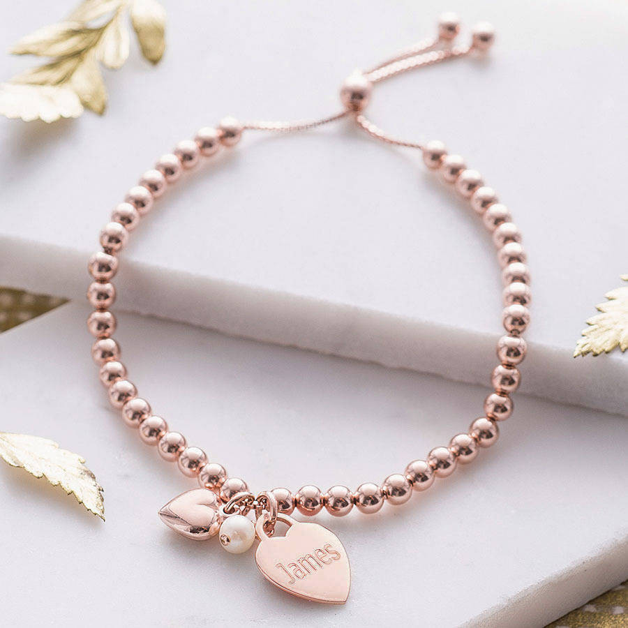 Rose Gold Bracelet  personalised rose gold ball slider bracelet by