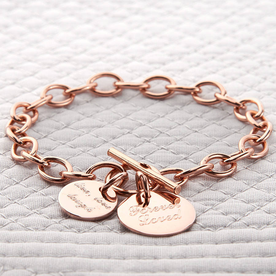 Rose Gold Bracelet  personalised rose or yellow gold charm chain bracelet by