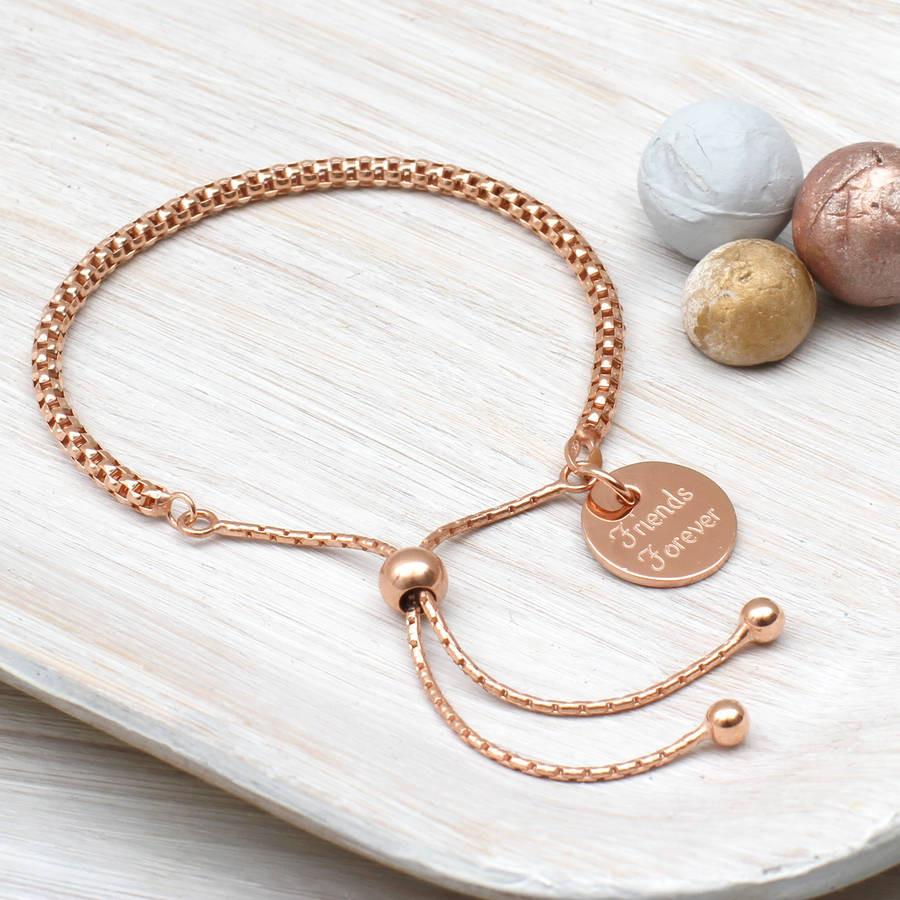 Rose Gold Bracelet  personalised rose gold friendship bracelet by hurleyburley