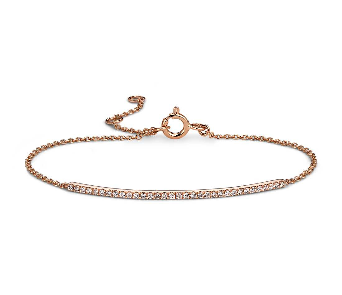 Rose Gold Bracelet  Delicate Diamond Bar Bracelet in 14k Rose Gold 1 5 ct tw