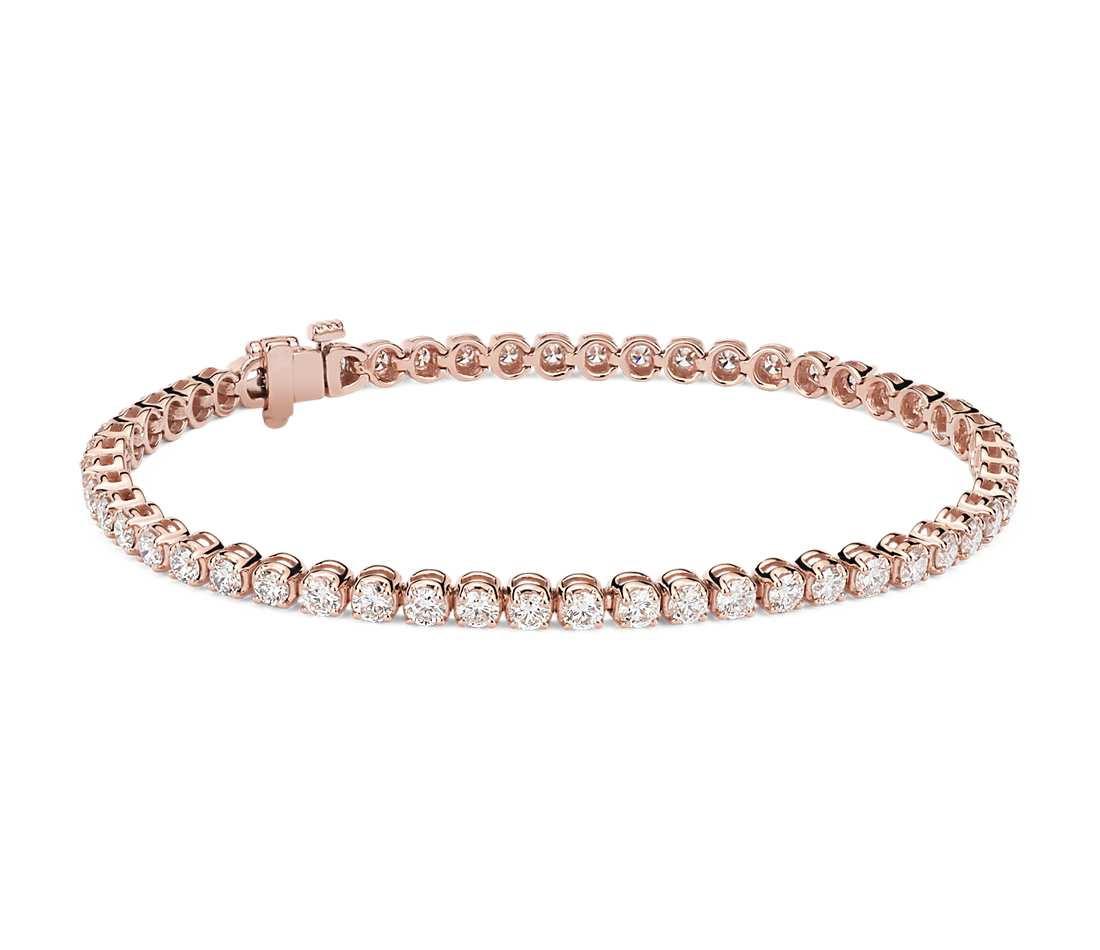Rose Gold Bracelet  Diamond Tennis Bracelet in 14k Rose Gold 4 ct tw