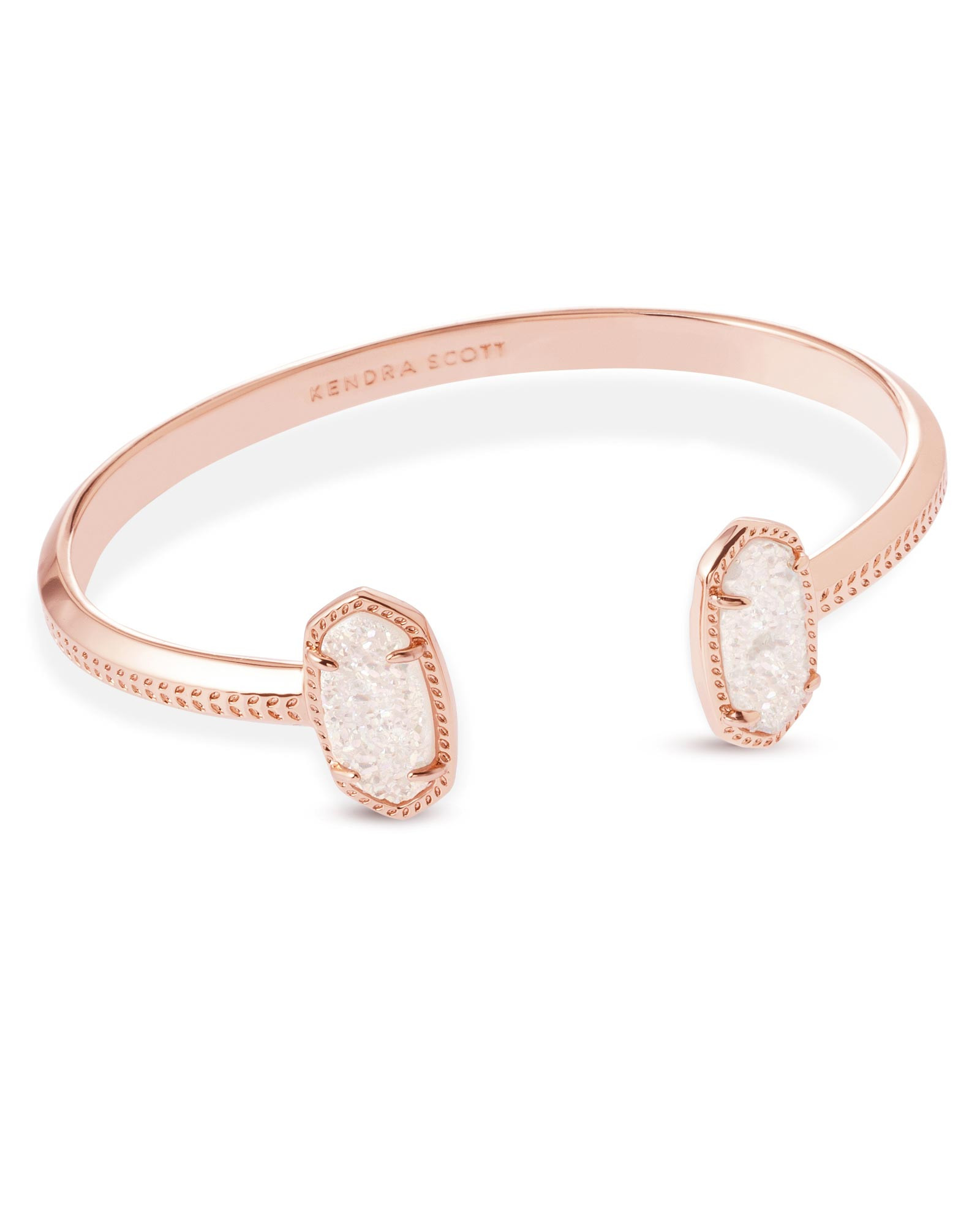 Rose Gold Bracelet  Elton Rose Gold Pinch Cuff Bracelet in Drusy