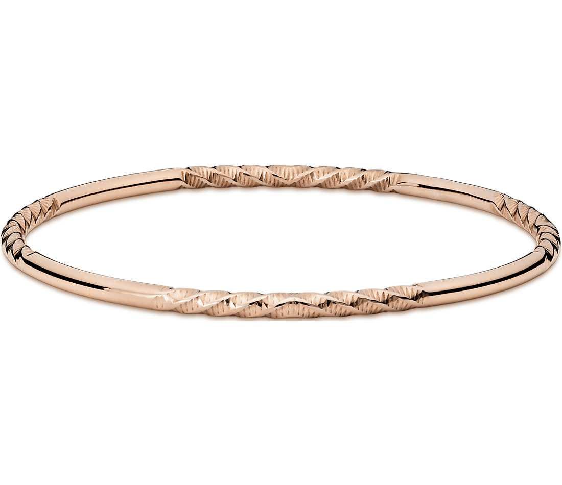Rose Gold Bracelet  Twist Bangle Bracelet in 14k Rose Gold