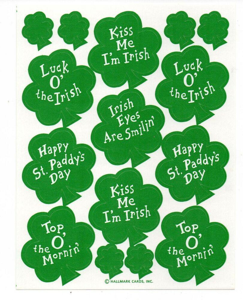 Saint Patrick's Day Quotes  Vintage Hallmark Sticker ST PATRICK S DAY SHAMROCK