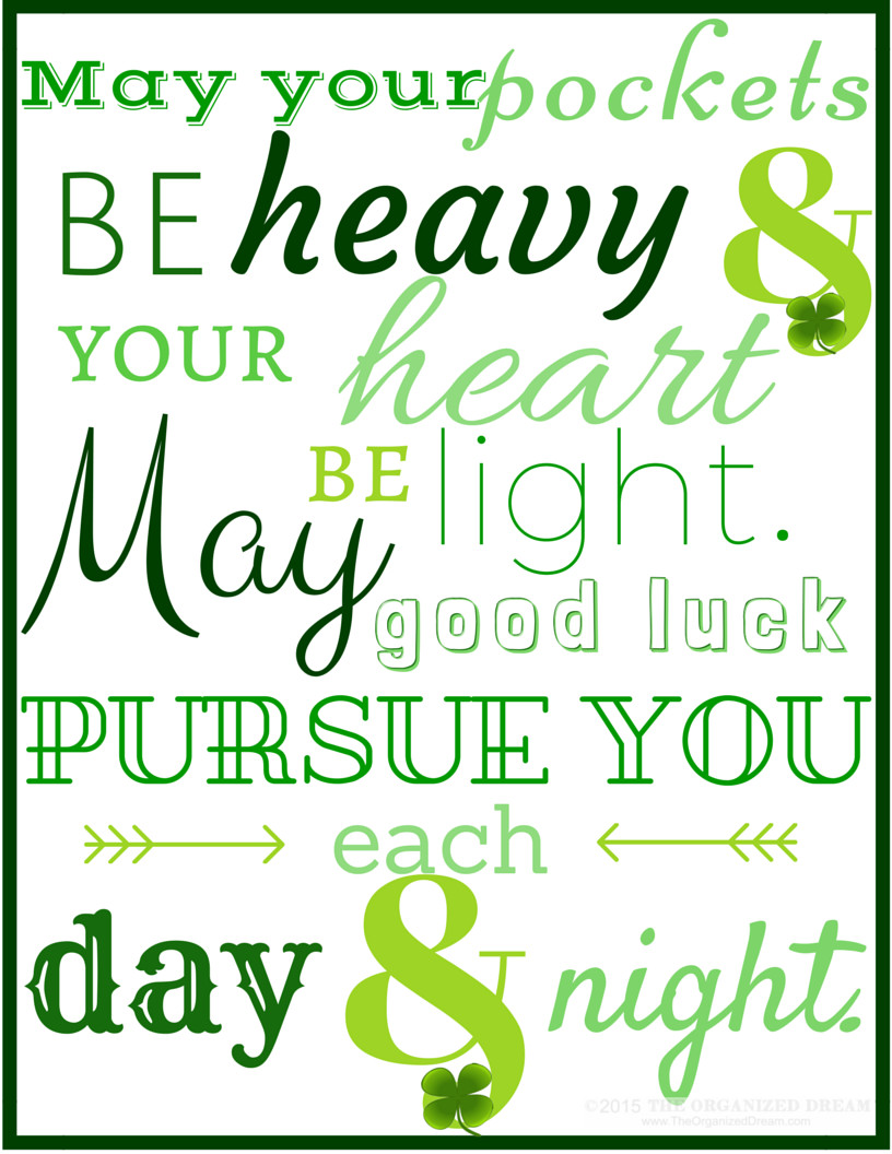 Saint Patrick's Day Quotes  Free St Patrick s Day Printables The Organized Dream