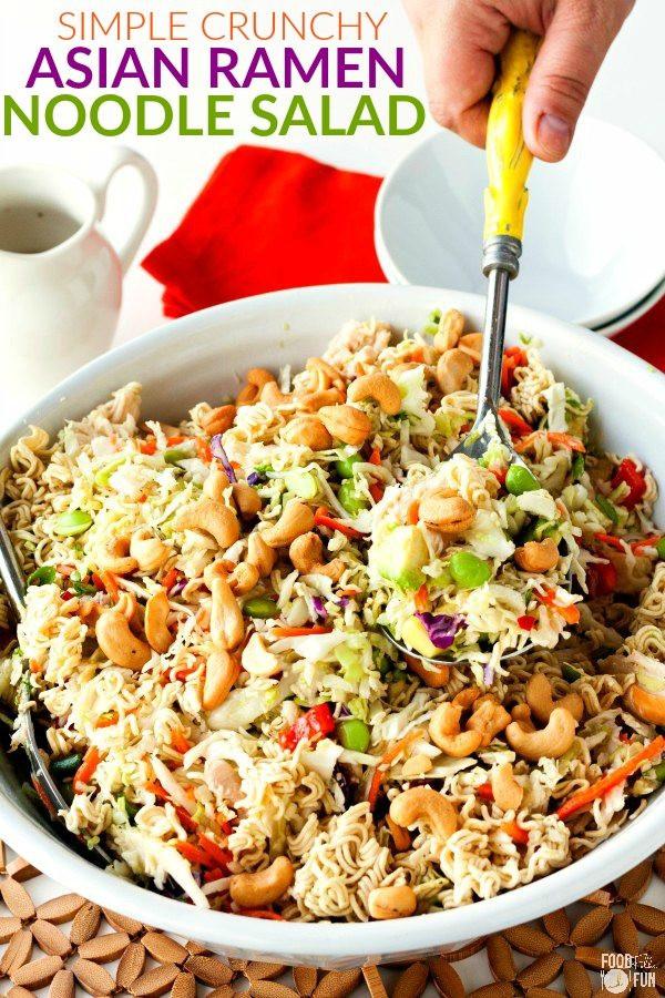 Salads With Ramen Noodles  Simple Crunchy Asian Ramen Noodle Salad • Food Folks and Fun