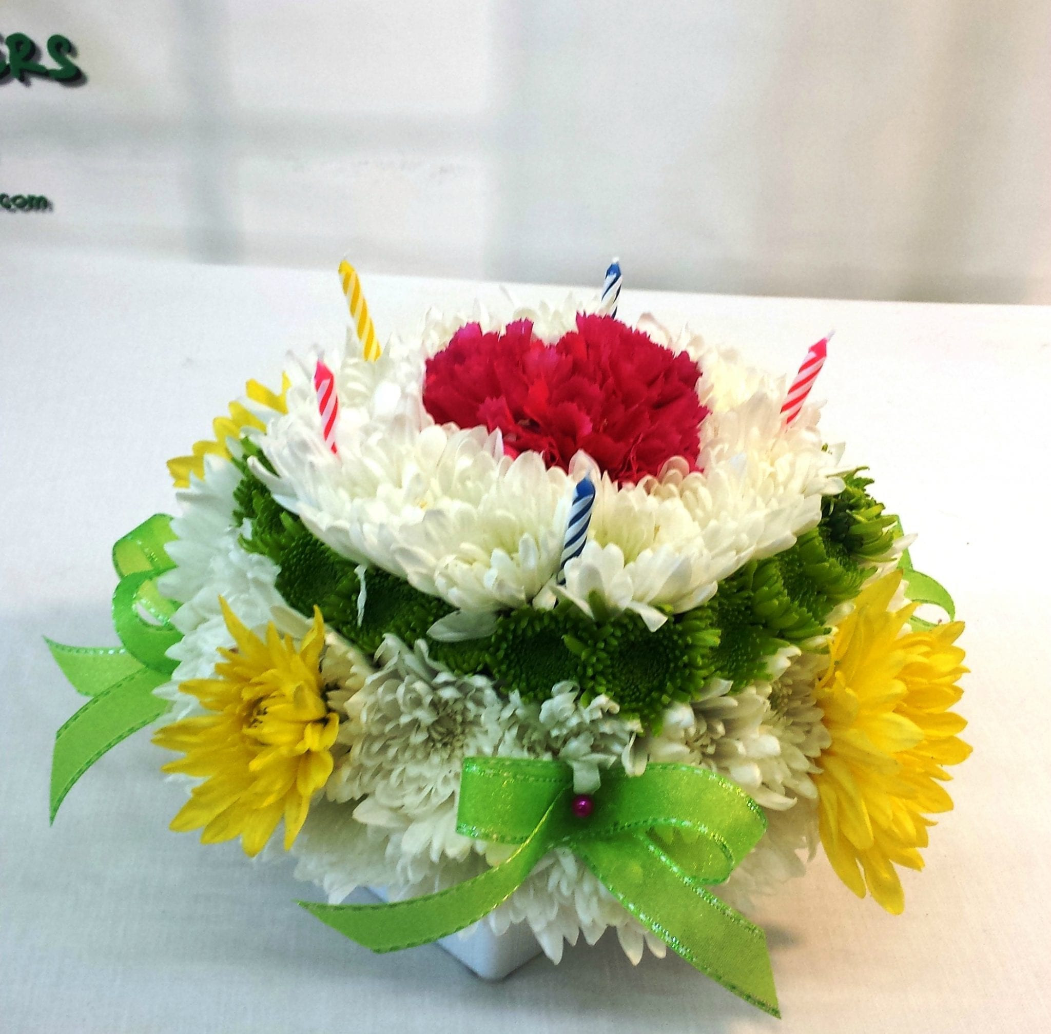 Same Day Birthday Cake Delivery  SAME DAY DELIVERY Birthday Flower Cake Green and Yellow