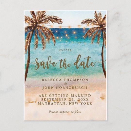 Save The Date Beach Wedding  boho beach wedding save the date postcard