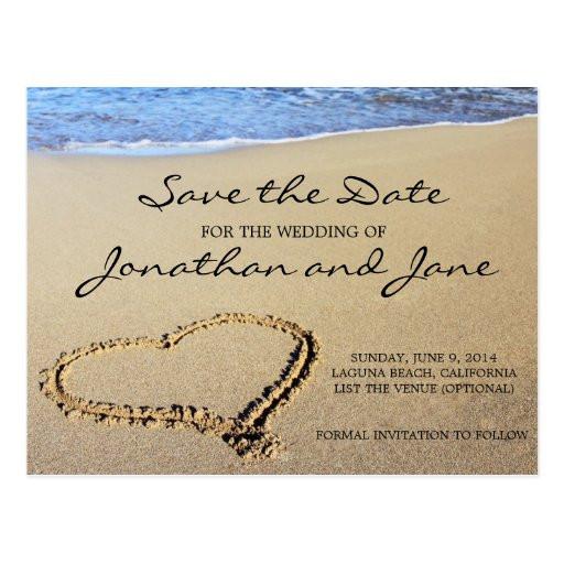 Save The Date Beach Wedding  Beach Ocean Wedding Save the Date Postcard