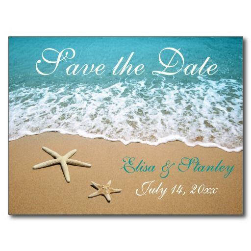 Save The Date Beach Wedding  Pair of starfish beach wedding Save the Date