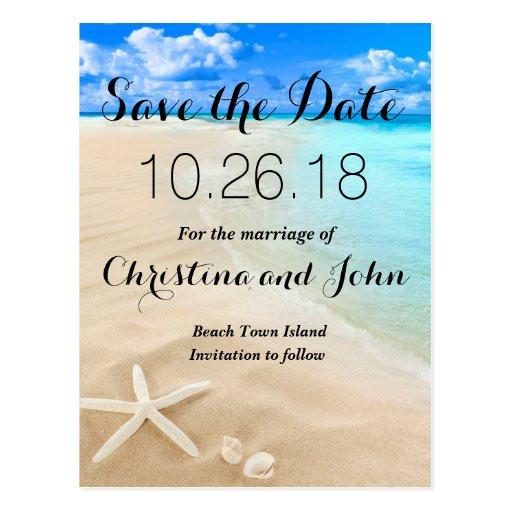 Save The Date Beach Wedding  Starfish Destination Beach Wedding Save the Date Postcard