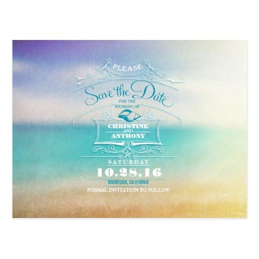 Save The Date Beach Wedding  Beach wedding modern save the date postcards
