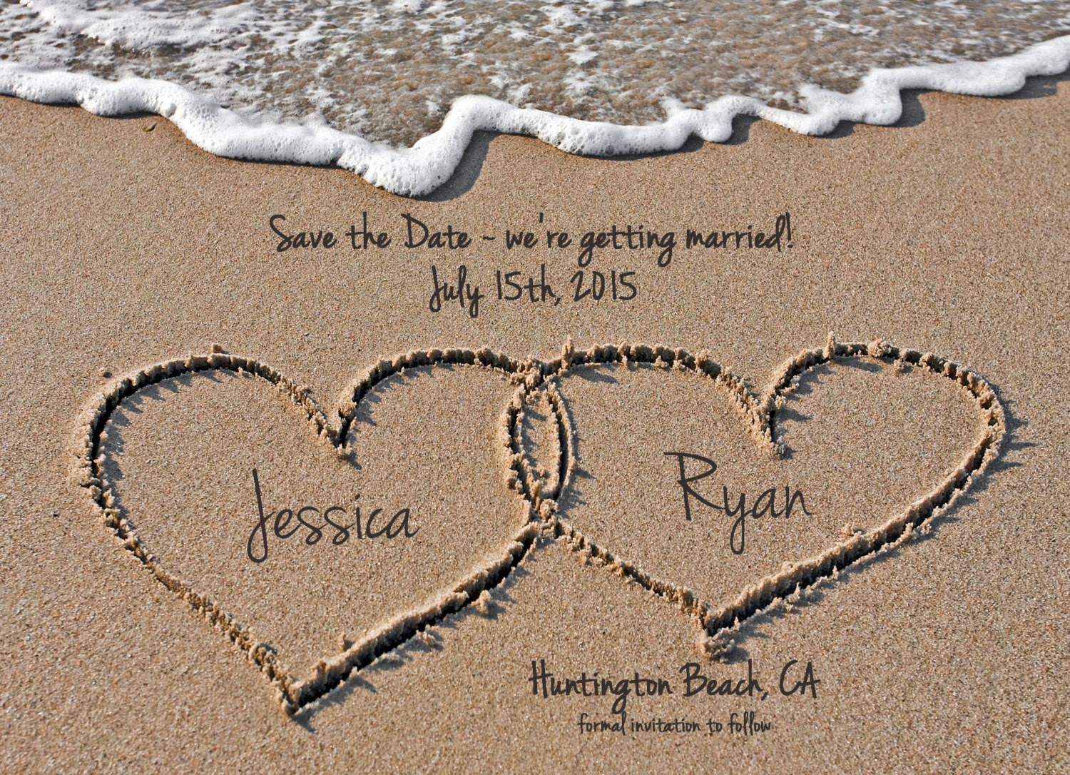 Save The Date Beach Wedding  Beach Save the Date Destination Wedding Save the Date Hearts