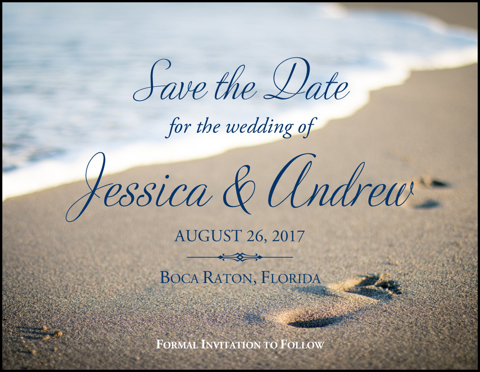Save The Date Beach Wedding  Beach Footprints Wedding Save the Date and Announcement