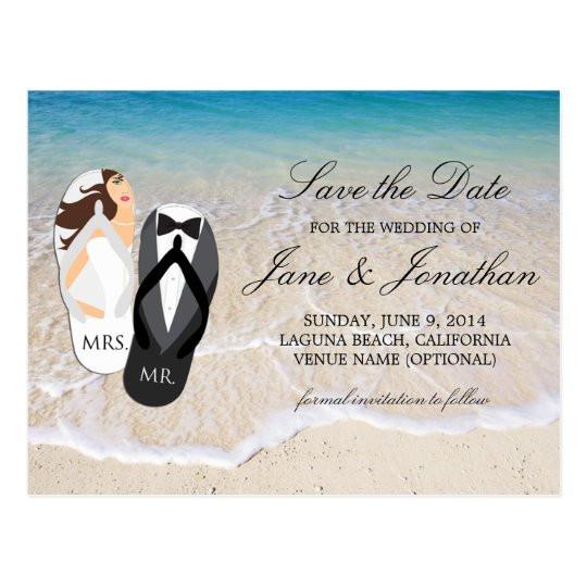 "Save The Date Beach Wedding  Beach Ocean ""Mr and Mrs "" Wedding Save the Date Postcard"