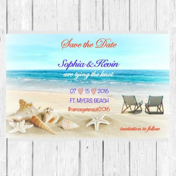 Save The Date Beach Wedding  Beach Theme Save the Date Wedding Invitation Save the Date