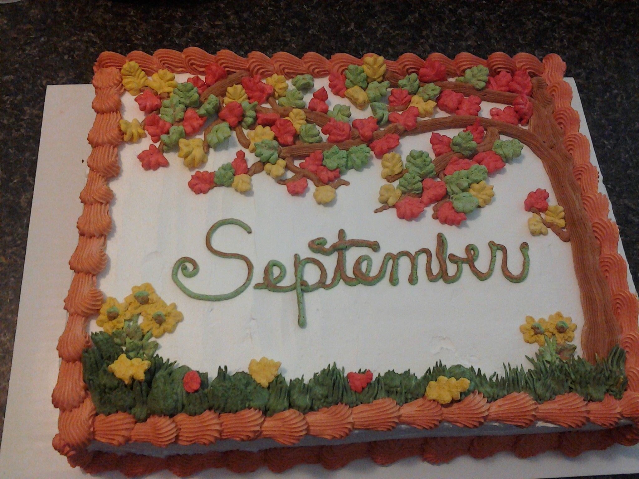 September Birthday Party Ideas  Chocolate cake with whipped icing for September B days