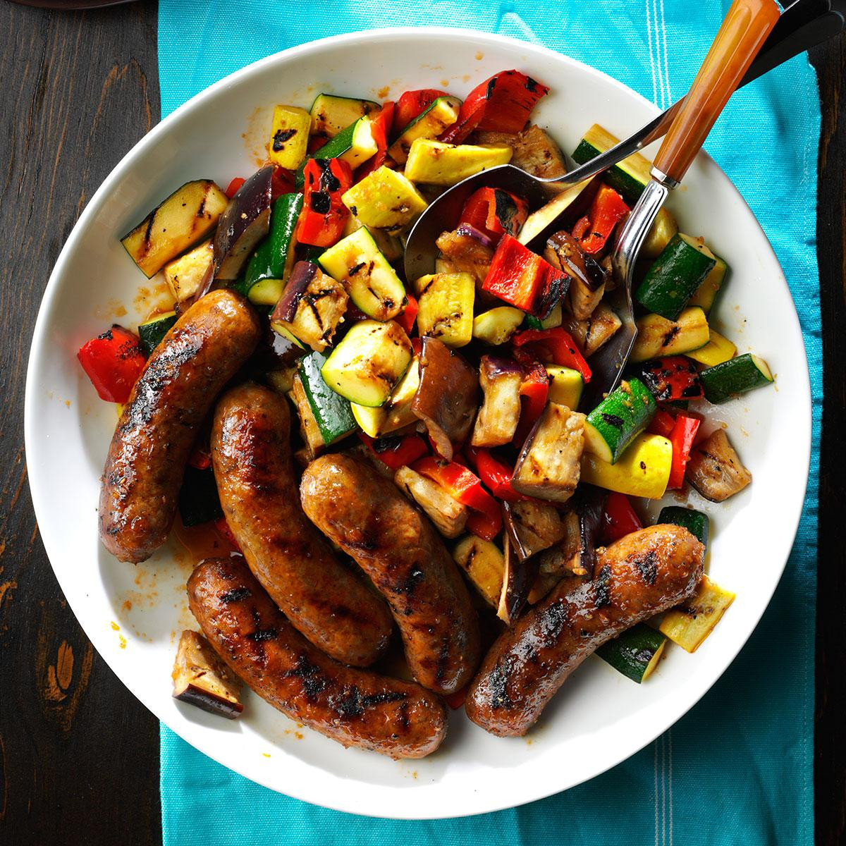 Side Dishes For Grilled Sausage  Grilled Sausages with Summer Ve ables Recipe