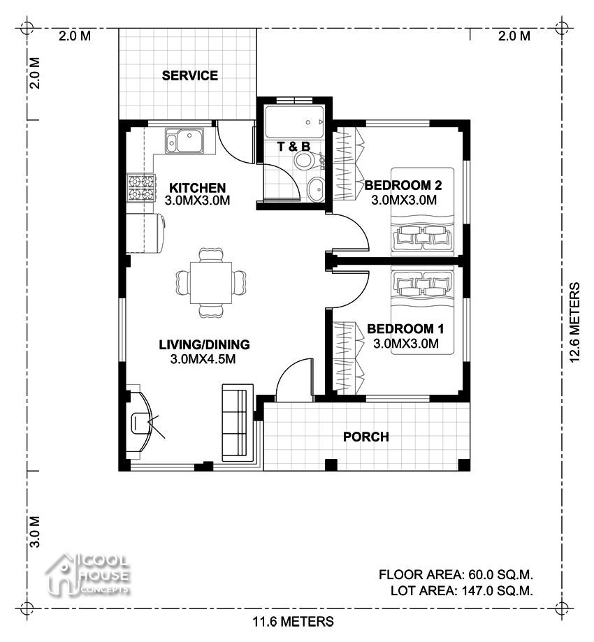 Small 2 Bedroom House Plans  Two Bedroom Small House Plan Cool House Concepts