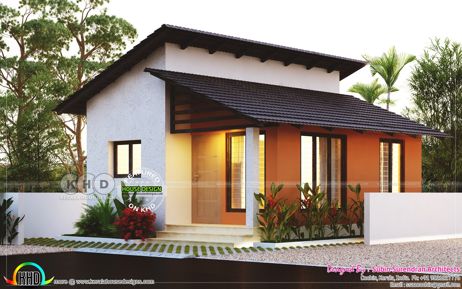 Small 2 Bedroom House Plans  Small low cost 2 bedroom home plan Kerala home design