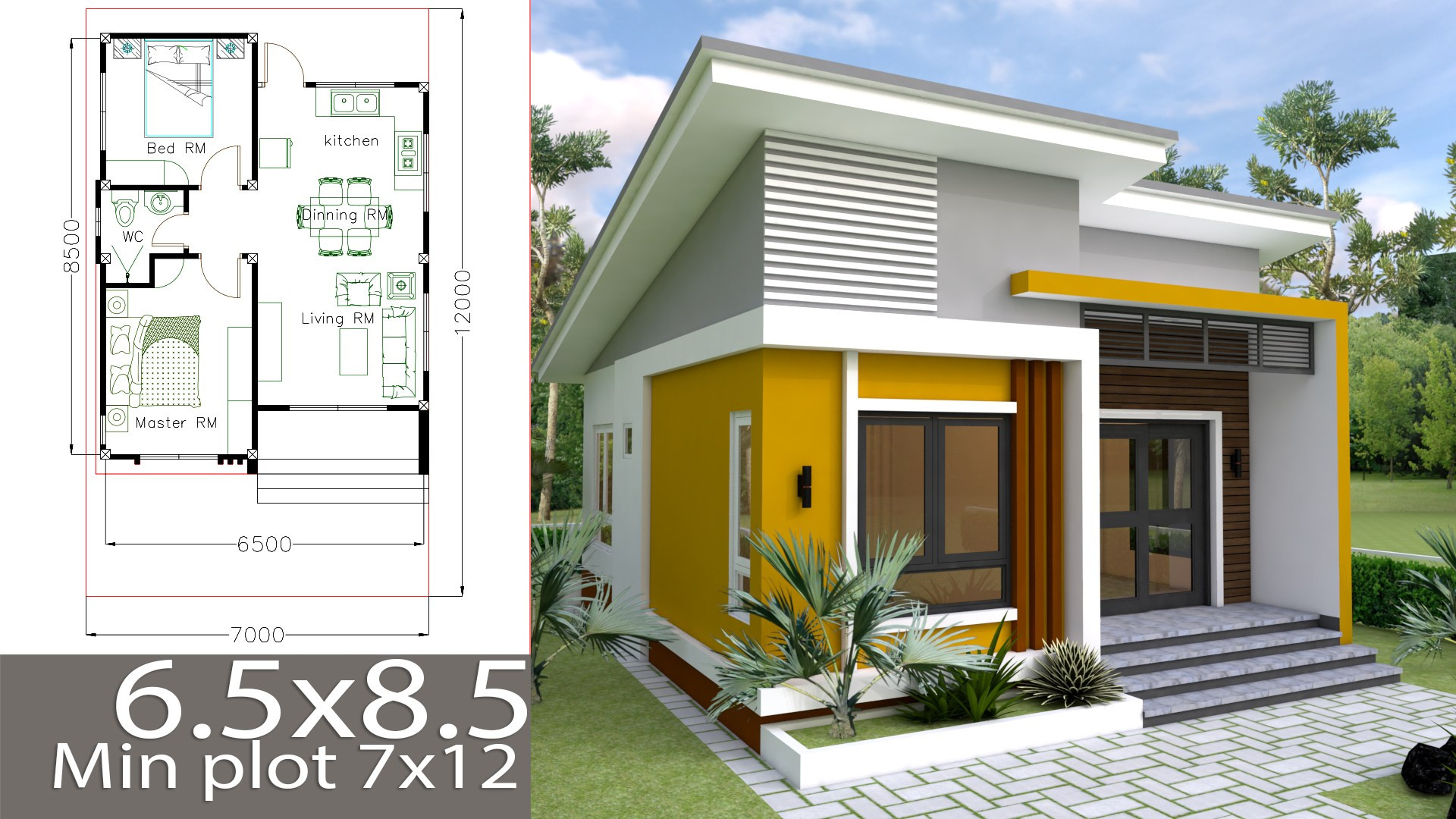 Small 2 Bedroom House Plans  Small Home design Plan 6 5x8 5m with 2 Bedrooms Samphoas