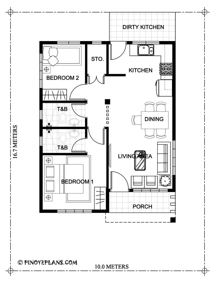 Small 2 Bedroom House Plans  Two Bedroom Small House Design SHD