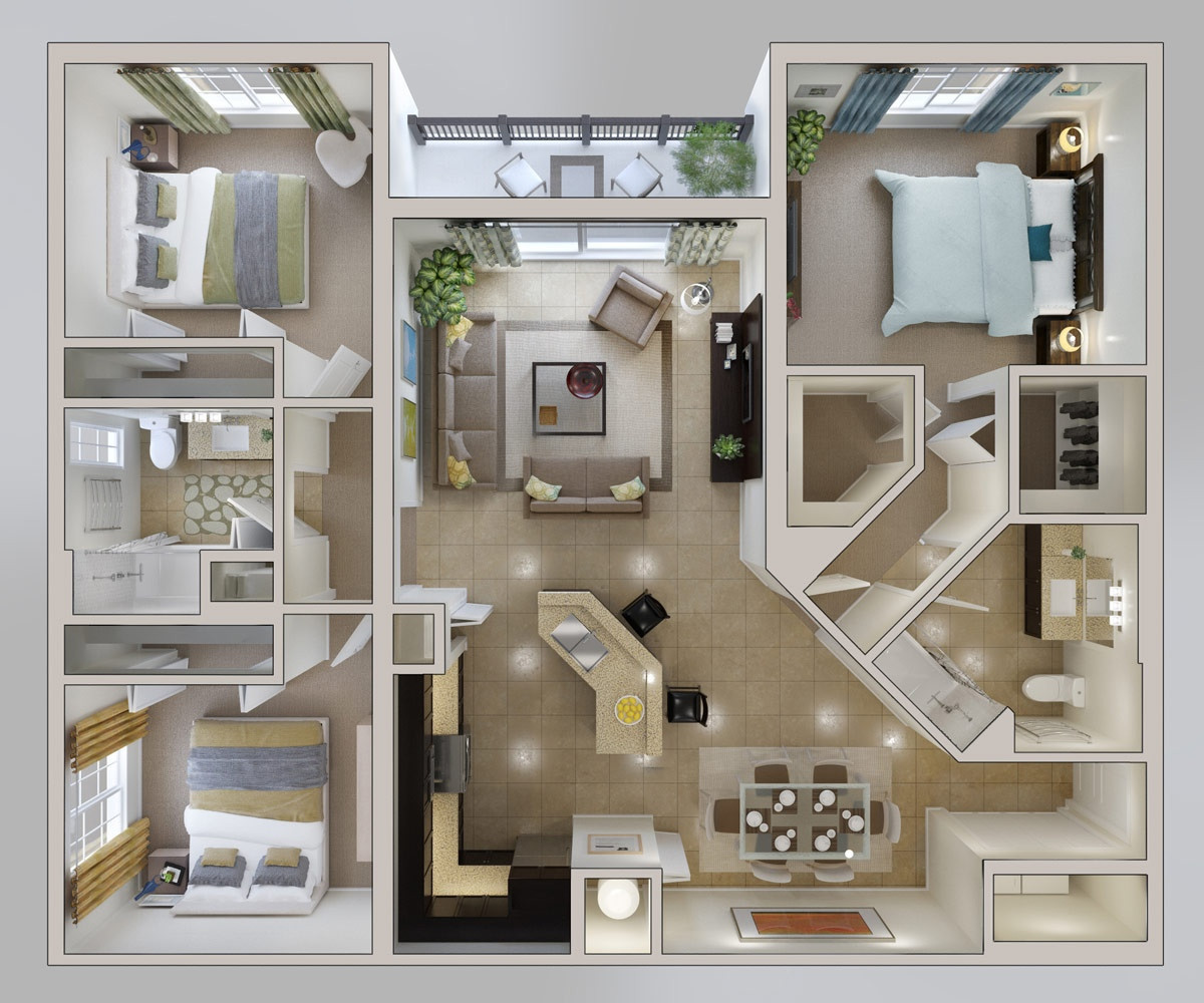 """Small 3 Bedroom House Plans  50 Three """"3"""" Bedroom Apartment House Plans"""