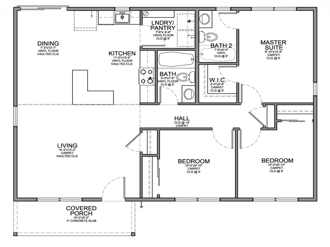 Small 3 Bedroom House Plans  Small 3 Bedroom House Floor Plans Modern Small House Plans