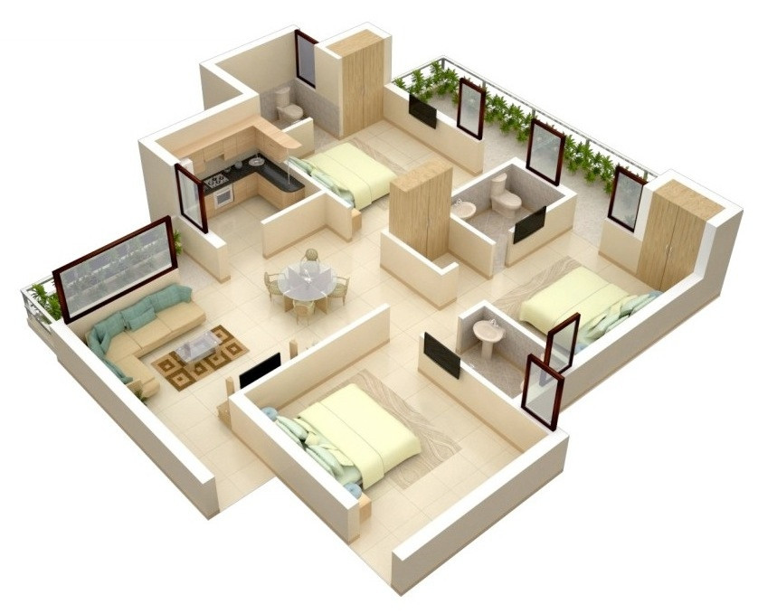 Small 3 Bedroom House Plans  3 Bedroom Apartment House Plans