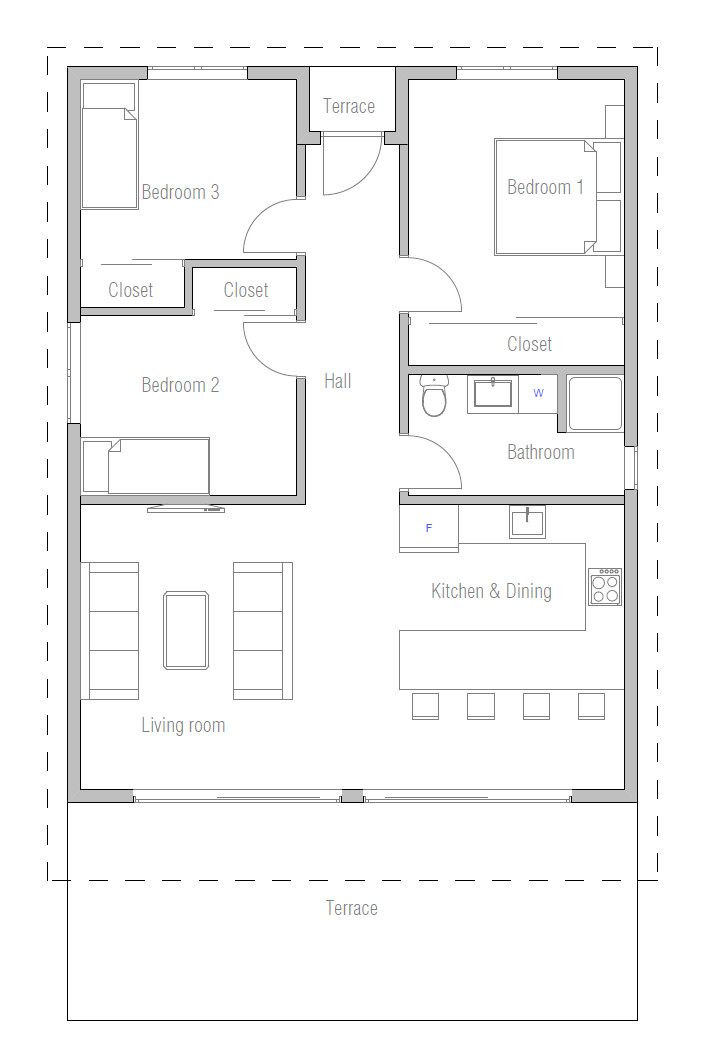 Small 3 Bedroom House Plans  Affordable home with three bedrooms House Plan