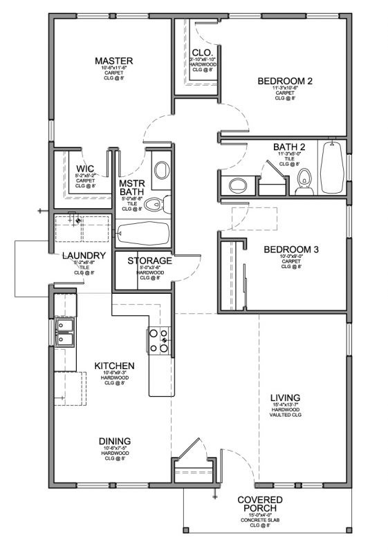Small 3 Bedroom House Plans  Floor Plan for a Small House 1 150 sf with 3 Bedrooms and