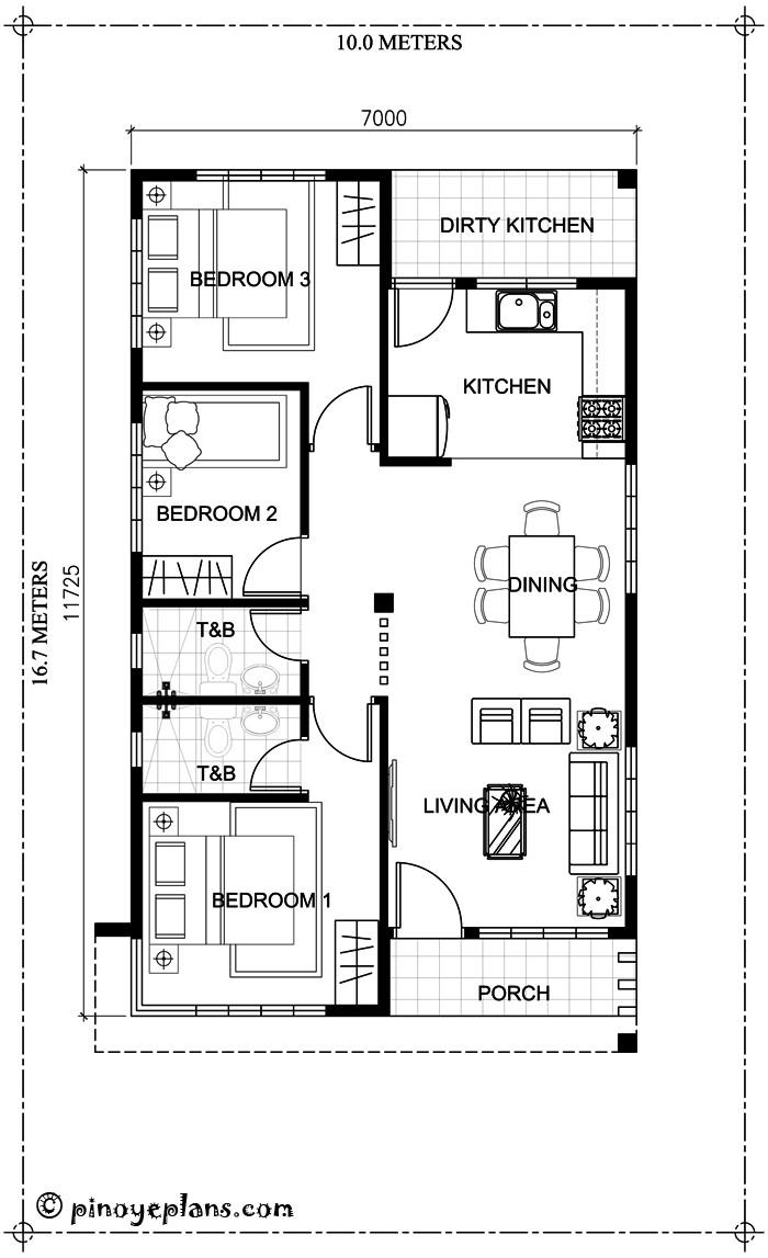 Small 3 Bedroom House Plans  Simple Yet Elegant 3 Bedroom House Design SHD