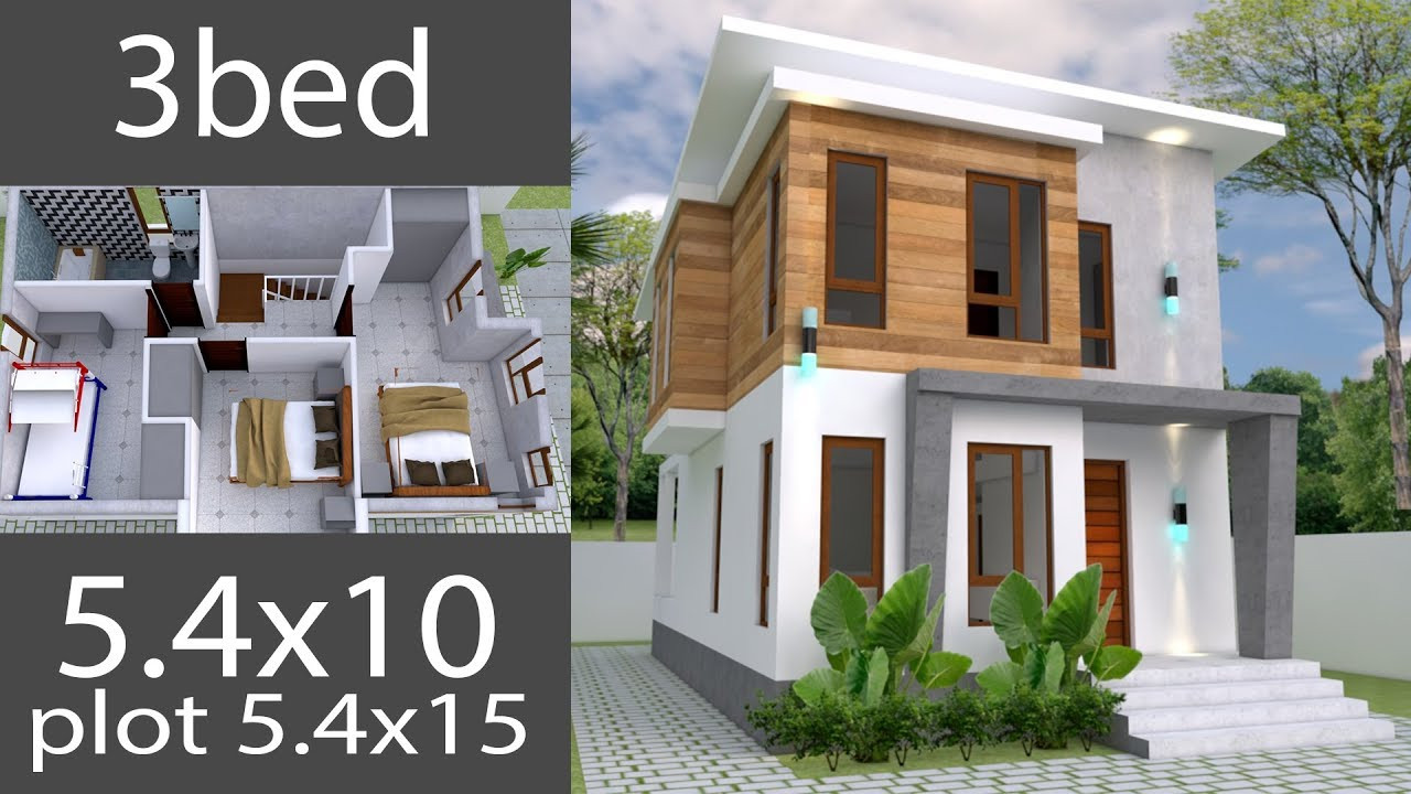 Small 3 Bedroom House Plans  Small Home design Plan 5 4x10m with 3 Bedrooms house plans