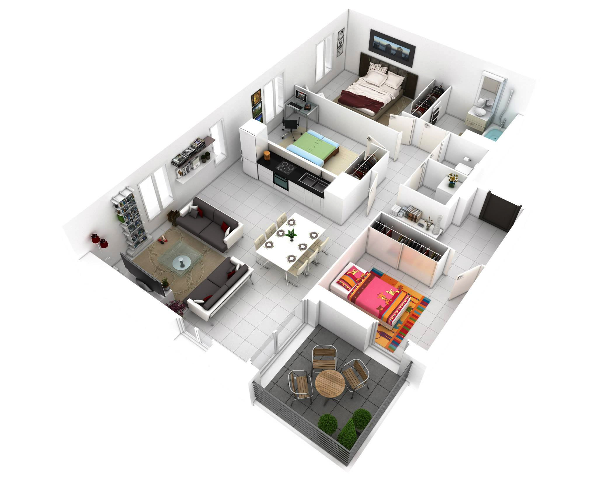 Small 3 Bedroom House Plans  25 More 3 Bedroom 3D Floor Plans