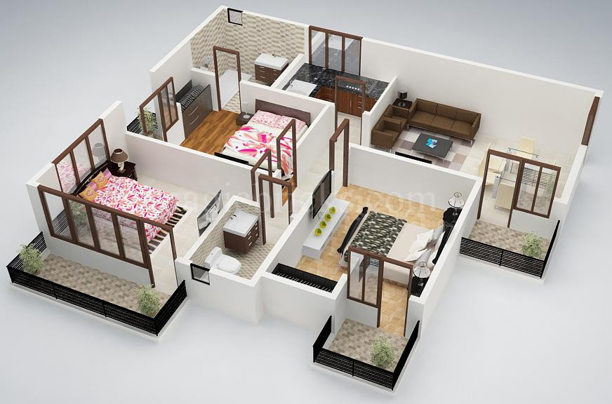 Small 3 Bedroom House Plans  25 Three Bedroom House Apartment Floor Plans