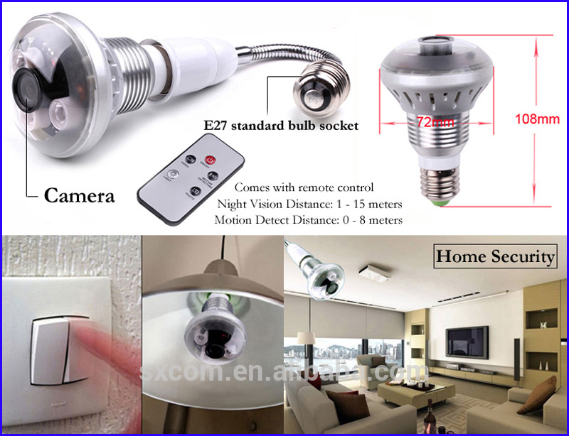 Small Spy Cameras For Bedroom  Home Security System 720p Light Bulb Hidden Camera In