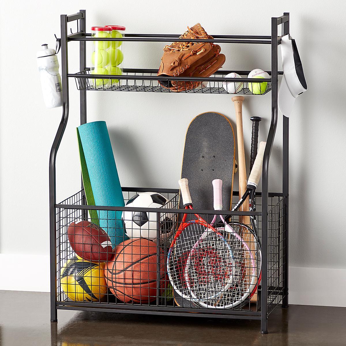 Sports Equipment Organizer For Garage  Heavy Duty Sports Storage Rack
