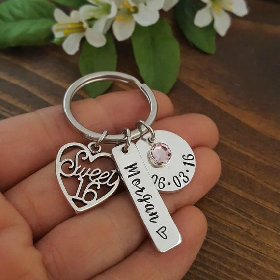Sweet Sixteen Gift Ideas For Girls  Sweet 16 Keychain 16th Birthday Gift Personalized Sweet 16