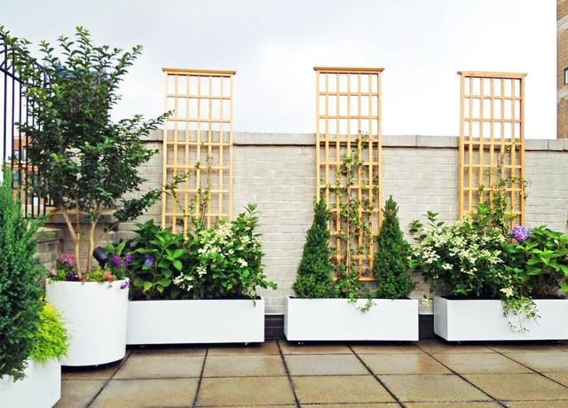 Terrace Landscape Plants  NYC Roof Garden White Planters Terrace Deck Paver Patio