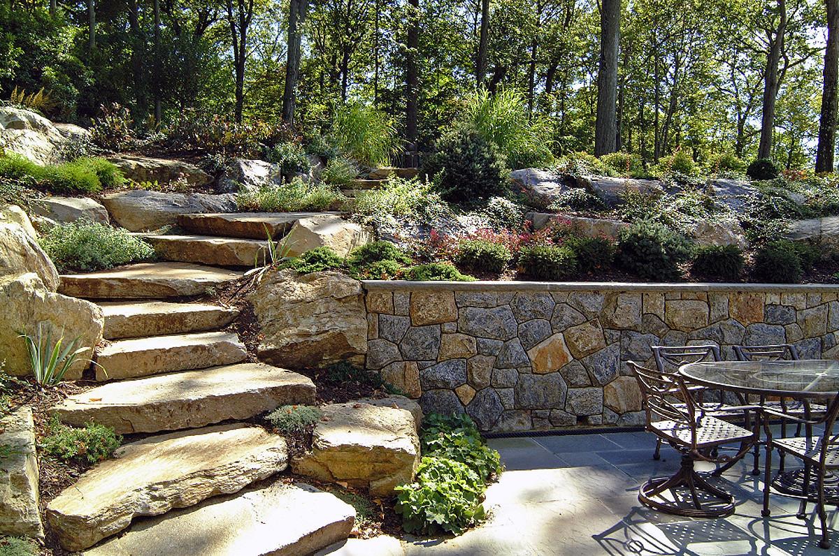 Terrace Landscape Sloped Yard  Natural Boulder Step Creations