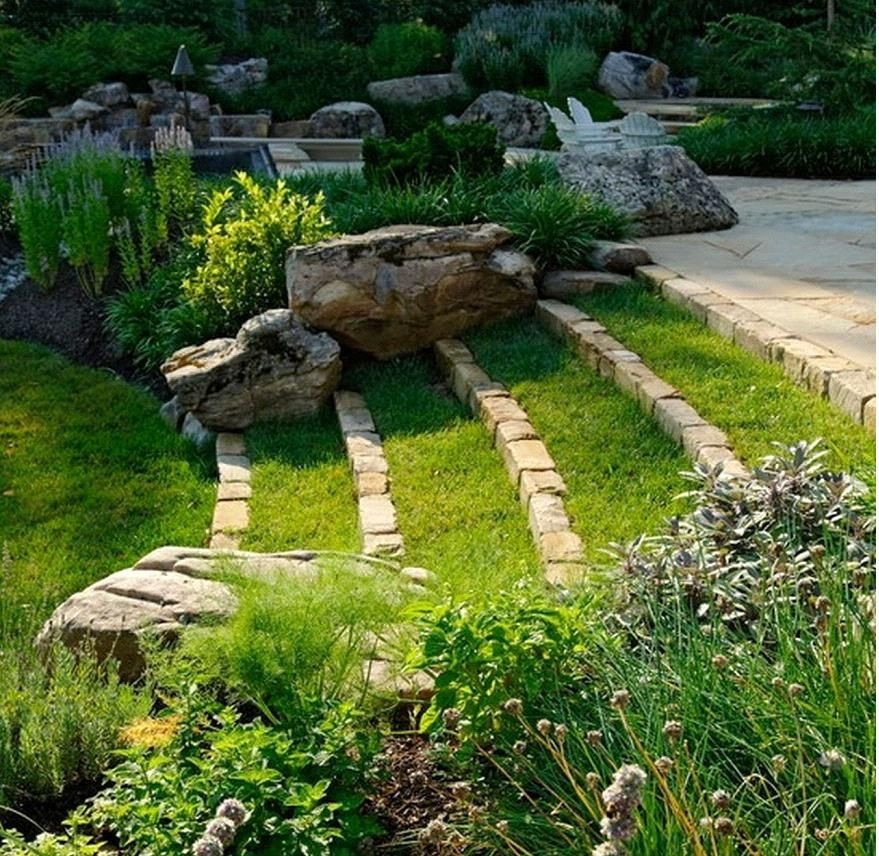 Terrace Landscape Sloped Yard  Tiered grass landscaping