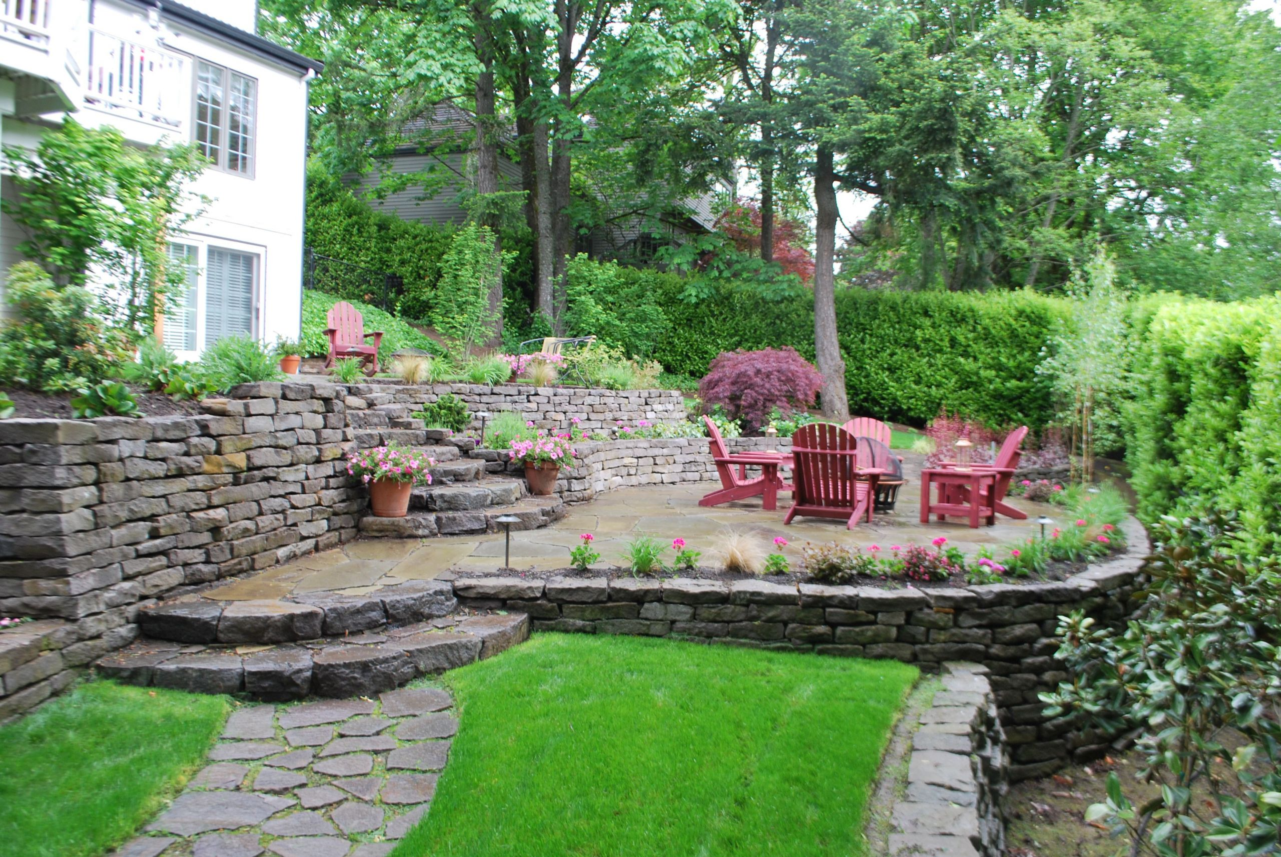 Terrace Landscape Sloped Yard  Tiered patio design sloping away from home with