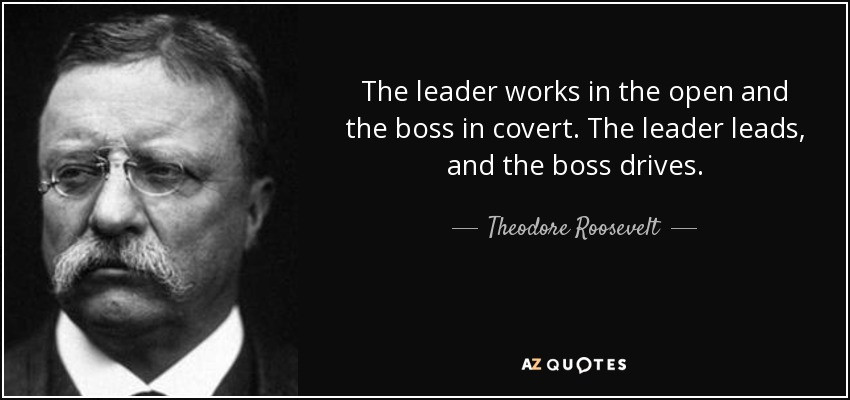 Theodore Roosevelt Quotes On Leadership  Theodore Roosevelt quote The leader works in the open and