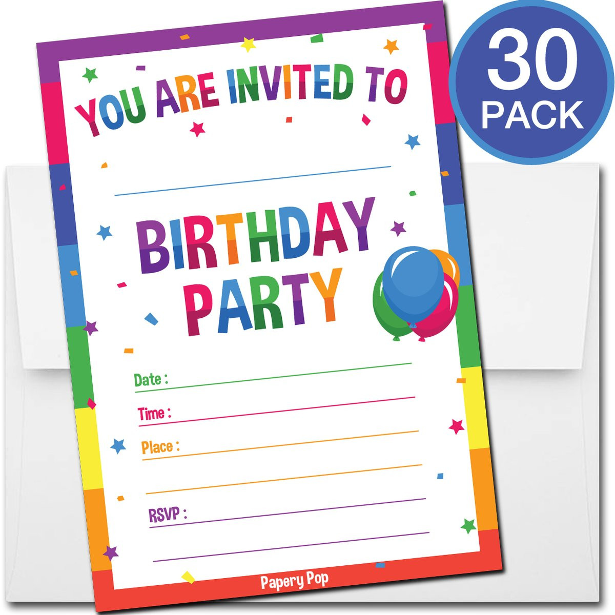 Toddler Birthday Invitations  30 Colorful Rainbow Birthday Invitations with Envelopes